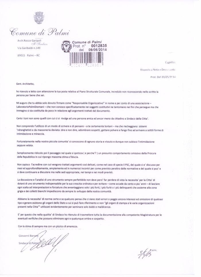 6b LaboratorioPalmidomani - PSC - Nota di risposta del Sindaco del 09 06 2014 alla lettera aperta del 20 05 2014